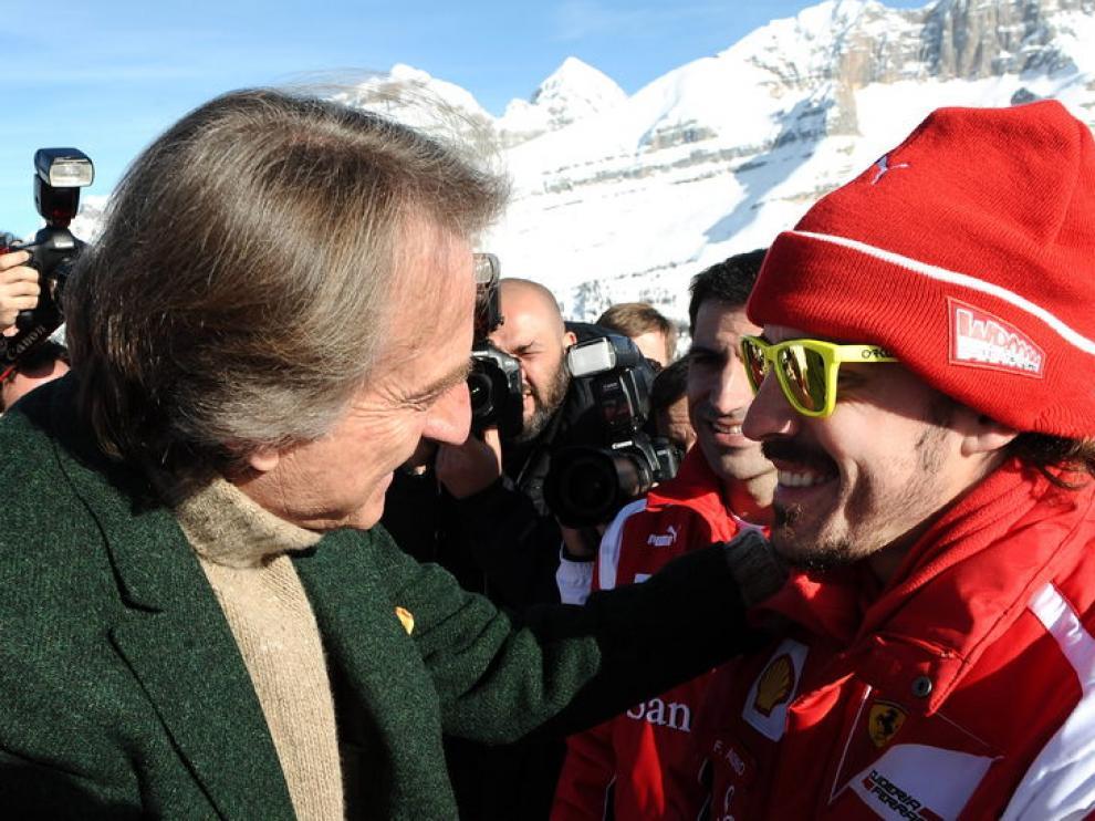 Montezemolo junto a Fernando Alonso.