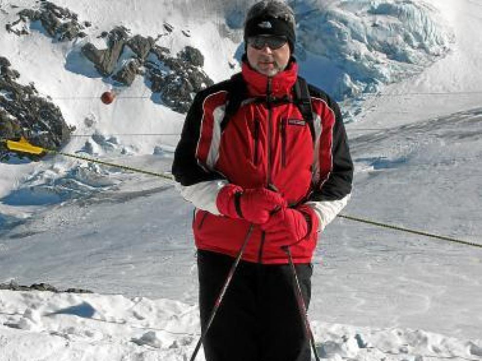 Fernando Lafuente, en una de sus escapadas a los Alpes.