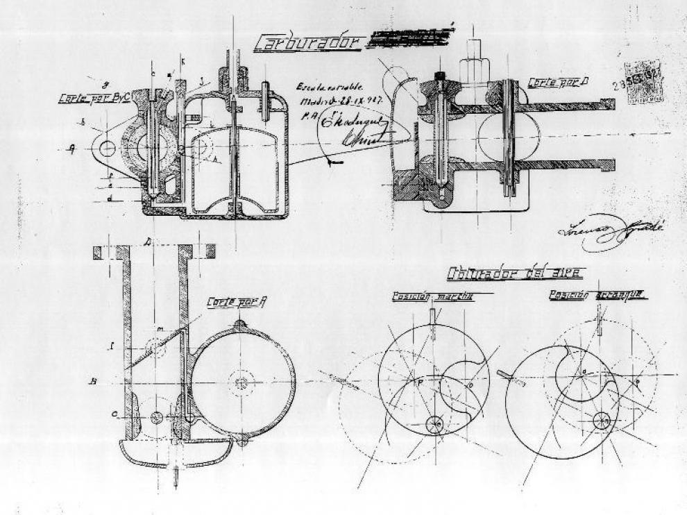 Dibujos que realizó Lorenzo Gradé para patentar su carburador.