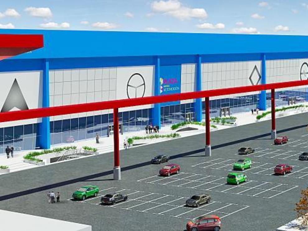 Recreación del edificio principal de Motor Plaza, en el que se duplicará la superficie acristalada.