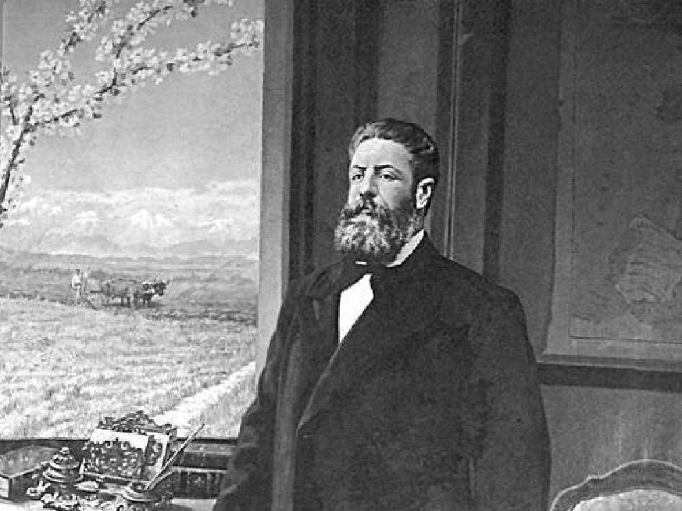 Retrato de Joaquín Costa pintado por Victoriano Balasanz en 1913.