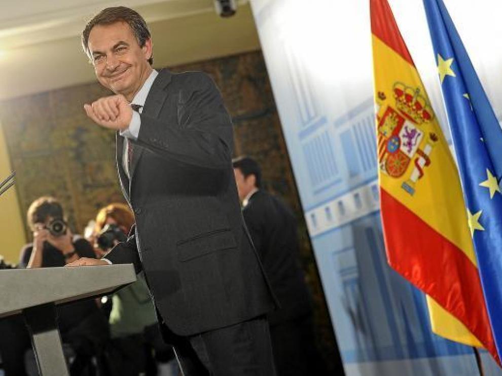 Rodríguez Zapatero, durante una comparecencia en la Moncloa el pasado m¡ércoles.