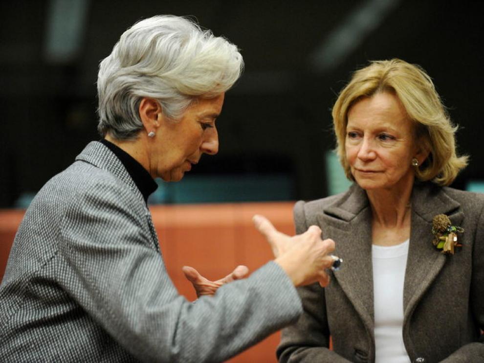 La ministra de Economía Elena Salgado, junto a la ministra de Finanzas francesa, Christine Lagarde