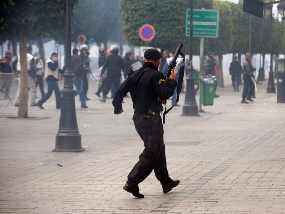 Imagen de archivo de protestas en Túnez.