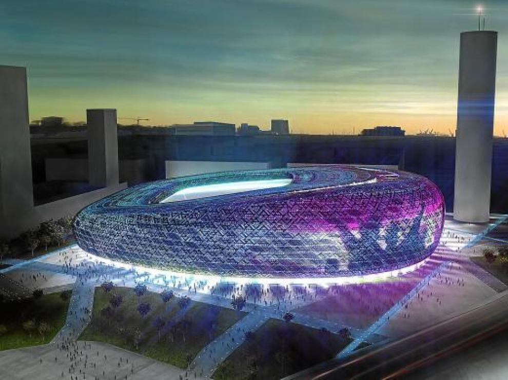 Recreación del futuro estadio de fútbol, diseñado por el arquitecto Joaquín Sicilia.