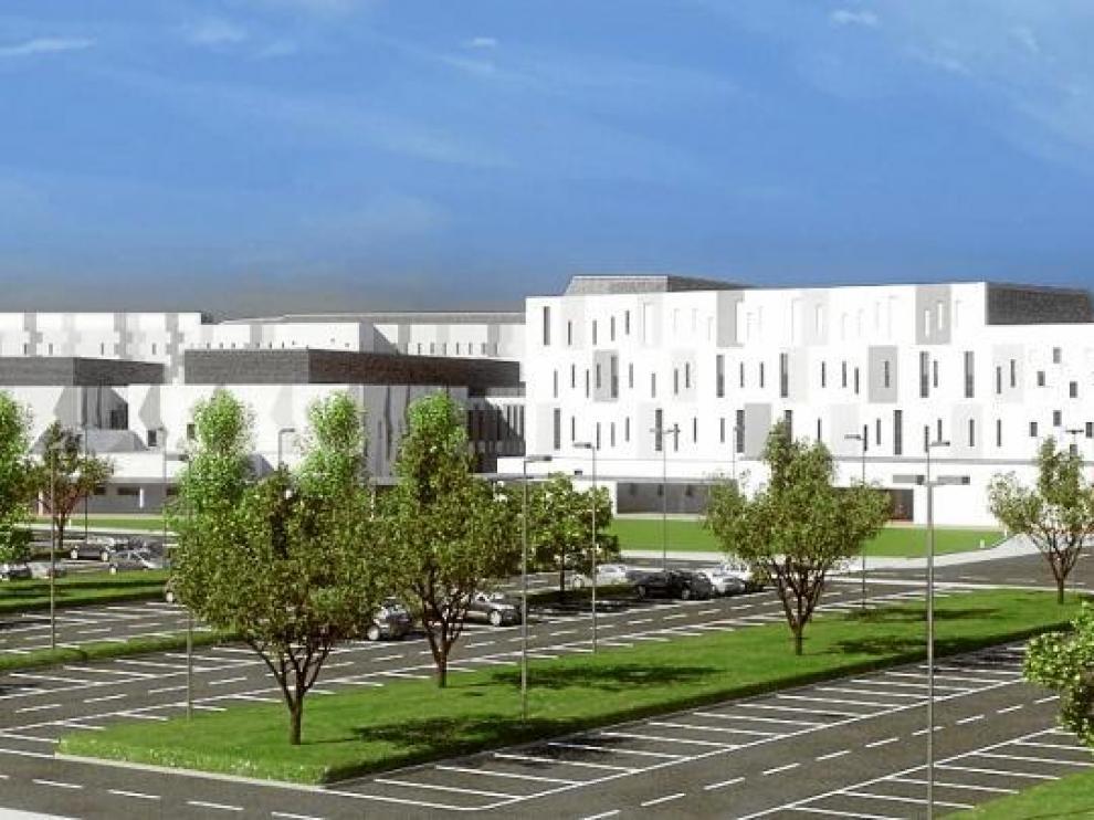 Recreación virtual del aspecto exterior que tendrá el nuevo hospital de Teruel.
