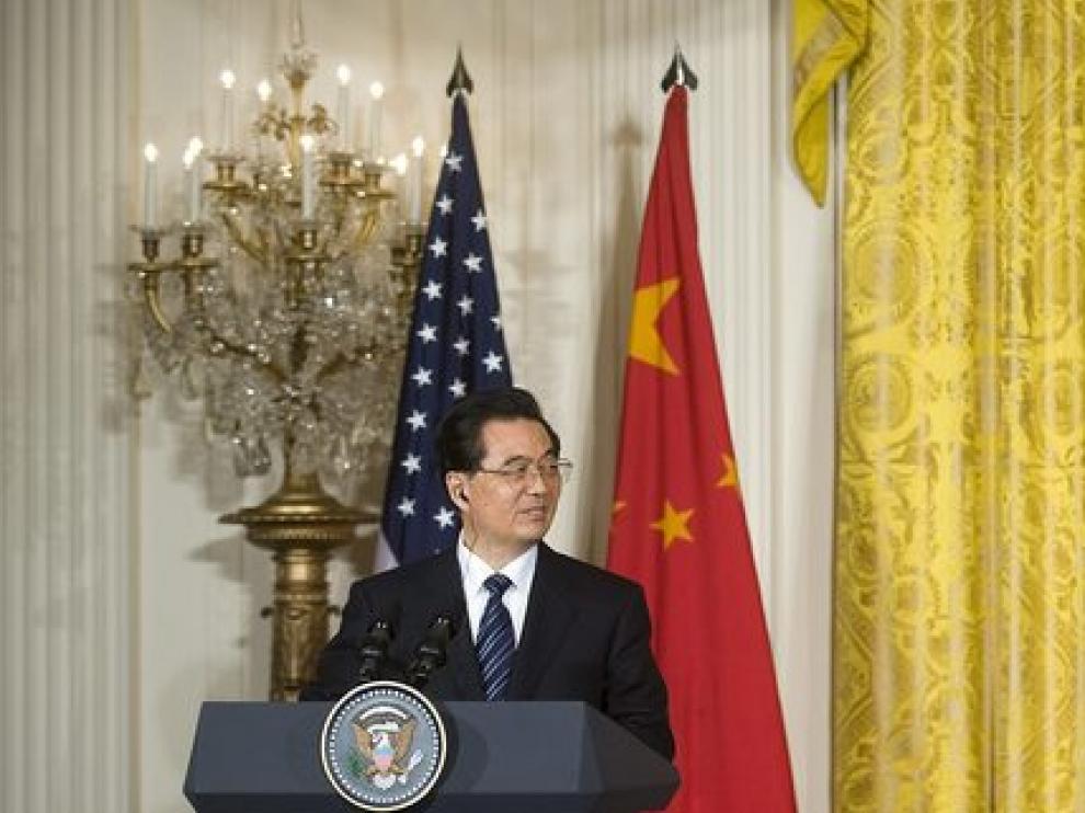 Obama y Hu Jintao durante su primera reunión