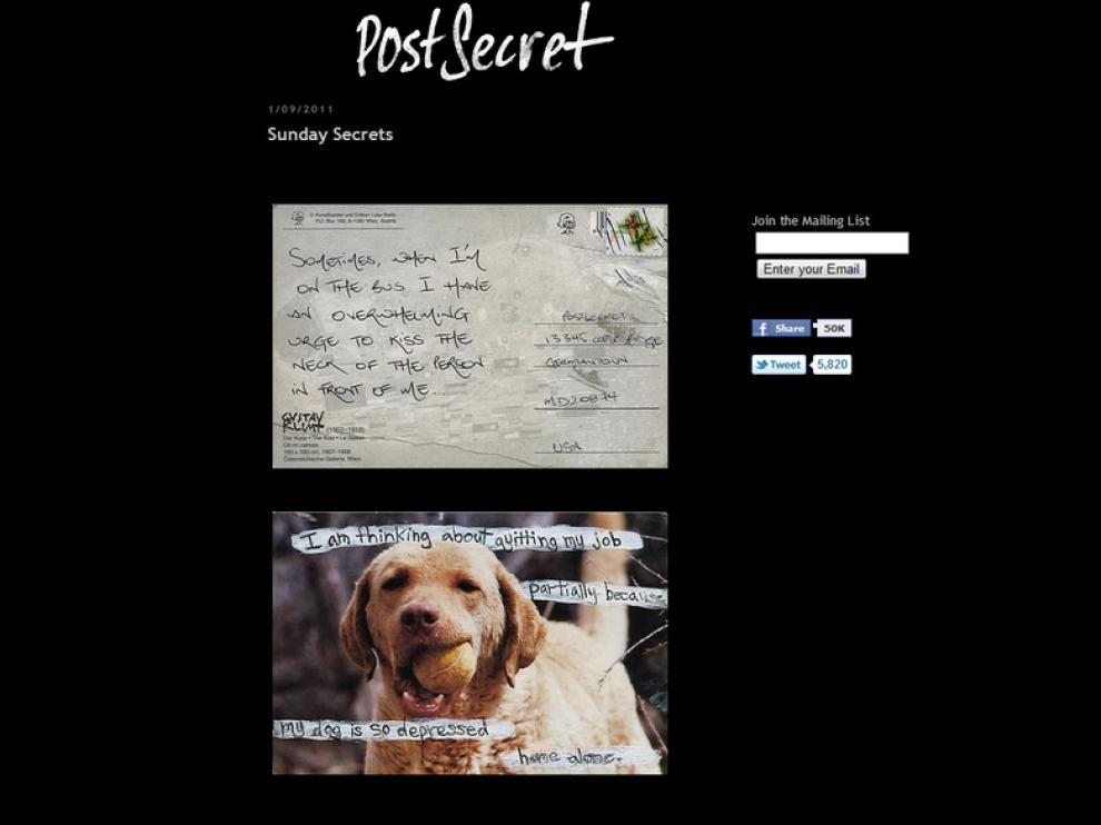Confesiones que saltan a la red en la web Postsecret