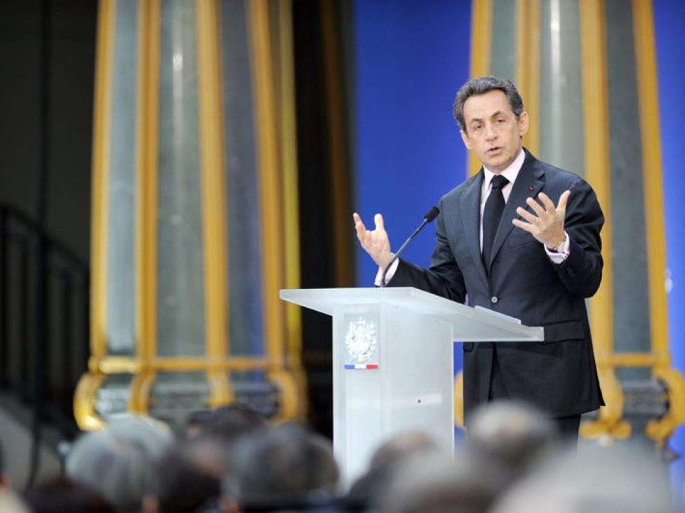 El primer ministro francés, Nicolás Sarkozy, hoy en París