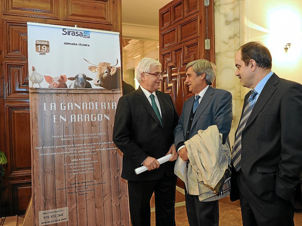El consejero Gonzalo Arguilé (i), con Juan José Badiola (c) y el director de Sirasa, José María Sallant.