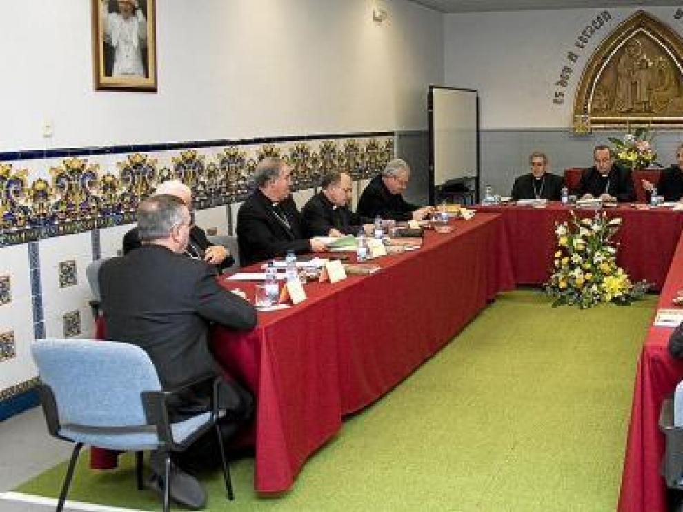 Un momento de la reunión de los obispos catalanes celebrada esta semana.