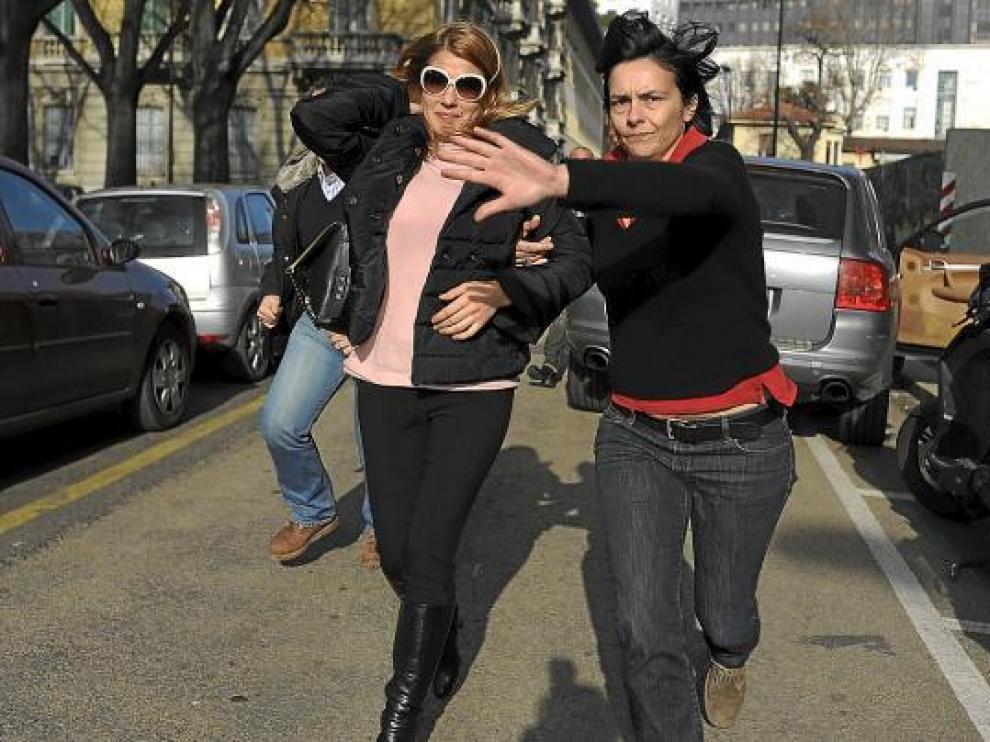 La prostituta de lujo Nadia Macri, a su llegada al tribunal de Roma, el pasado viernes.