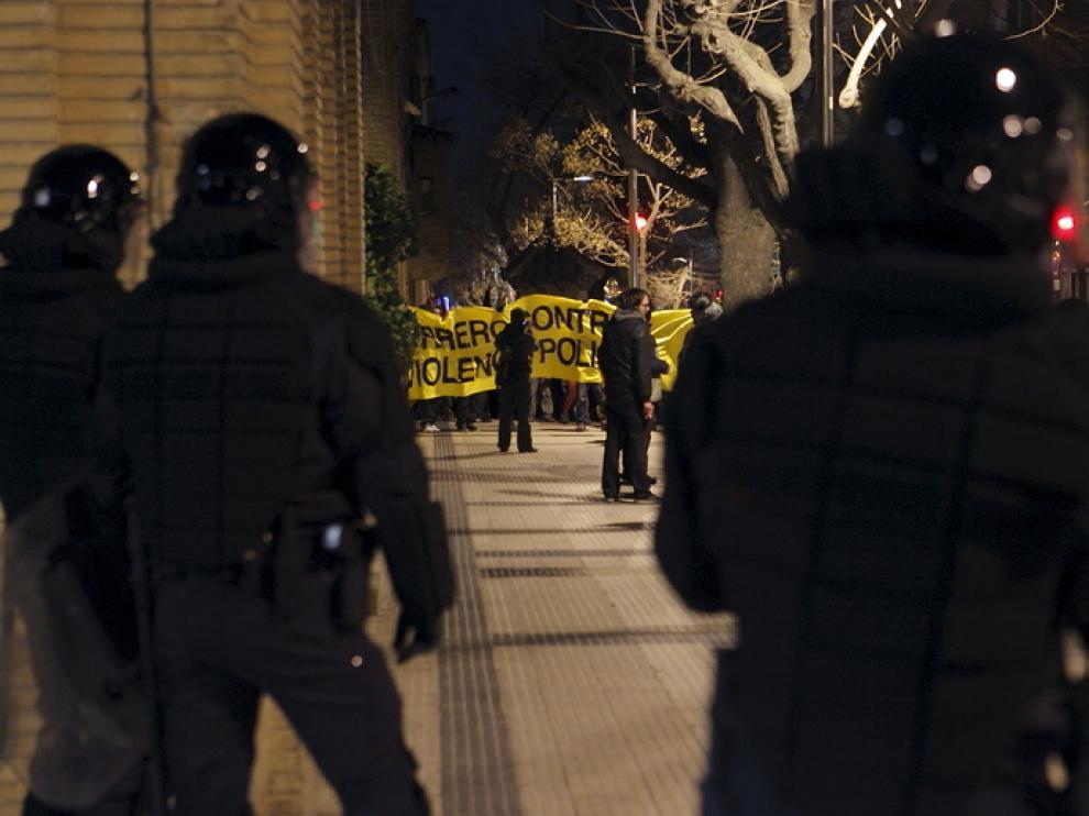 Manifestación del colectivo okupa en Torrero