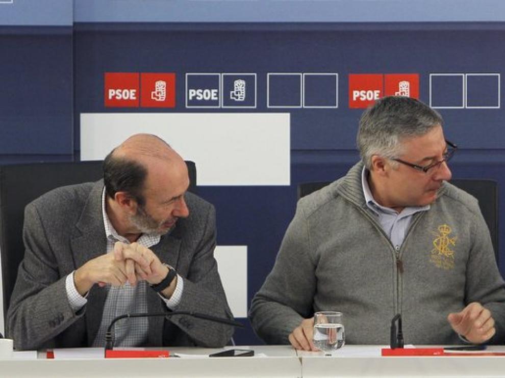 Alfredo Pérez Rubalcaba, José Blanco y José Luis Rodríguez Zapatero