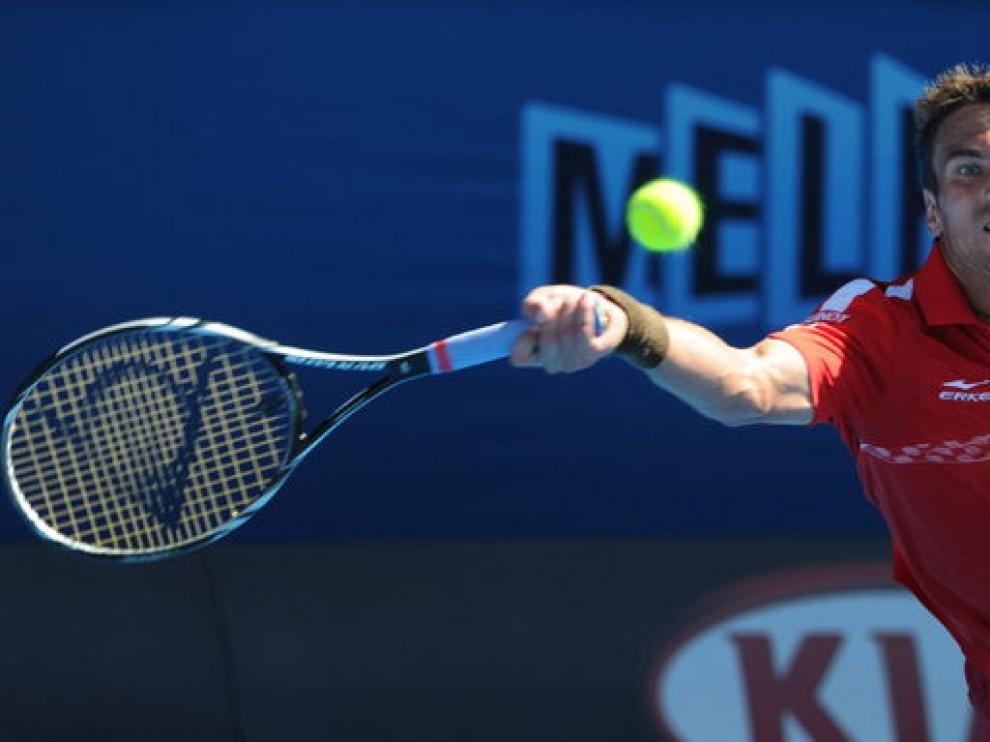 Tommy Robredo, durante el partido contra Federer