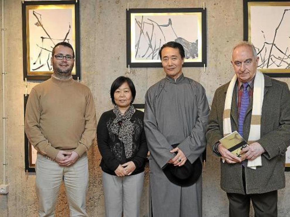 David Calvo, Kumiko Fujimura, Wan Shih Ming y Jaime Esaín, en la galería Calvo i Mayayo.