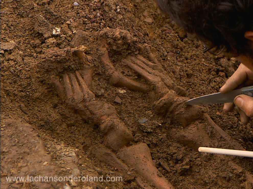 Restos humanos encontrados.