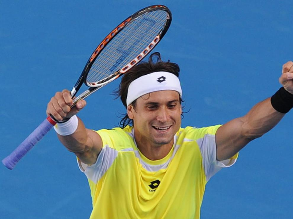 Ferrer celebra su victoria en Melburne