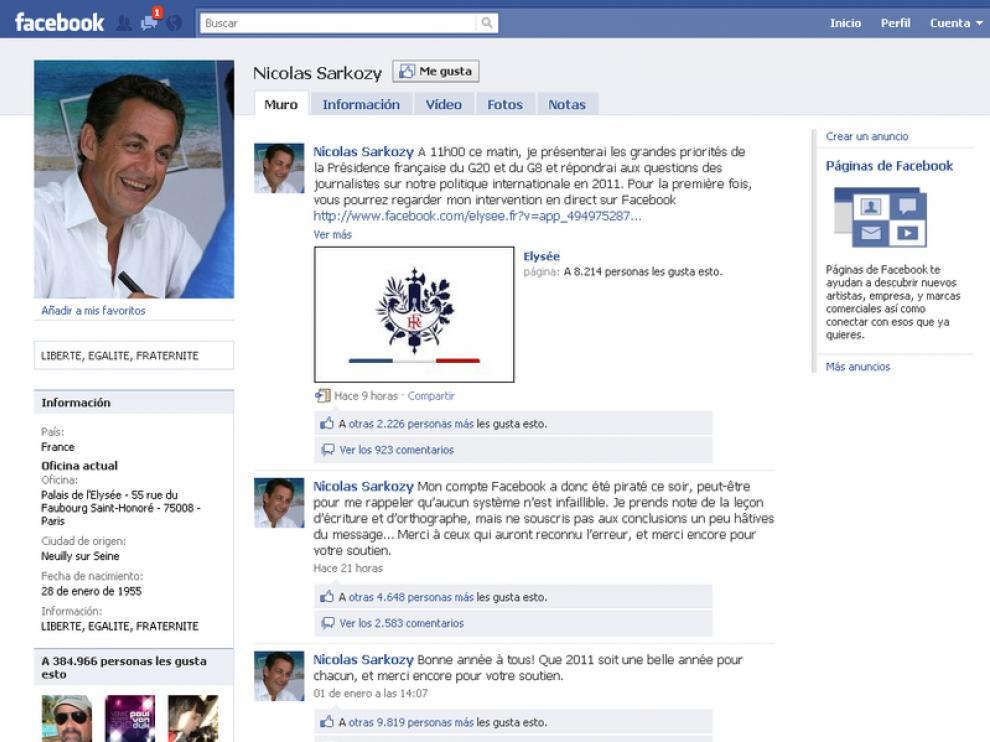 La página de Sarkozy en Facebook.