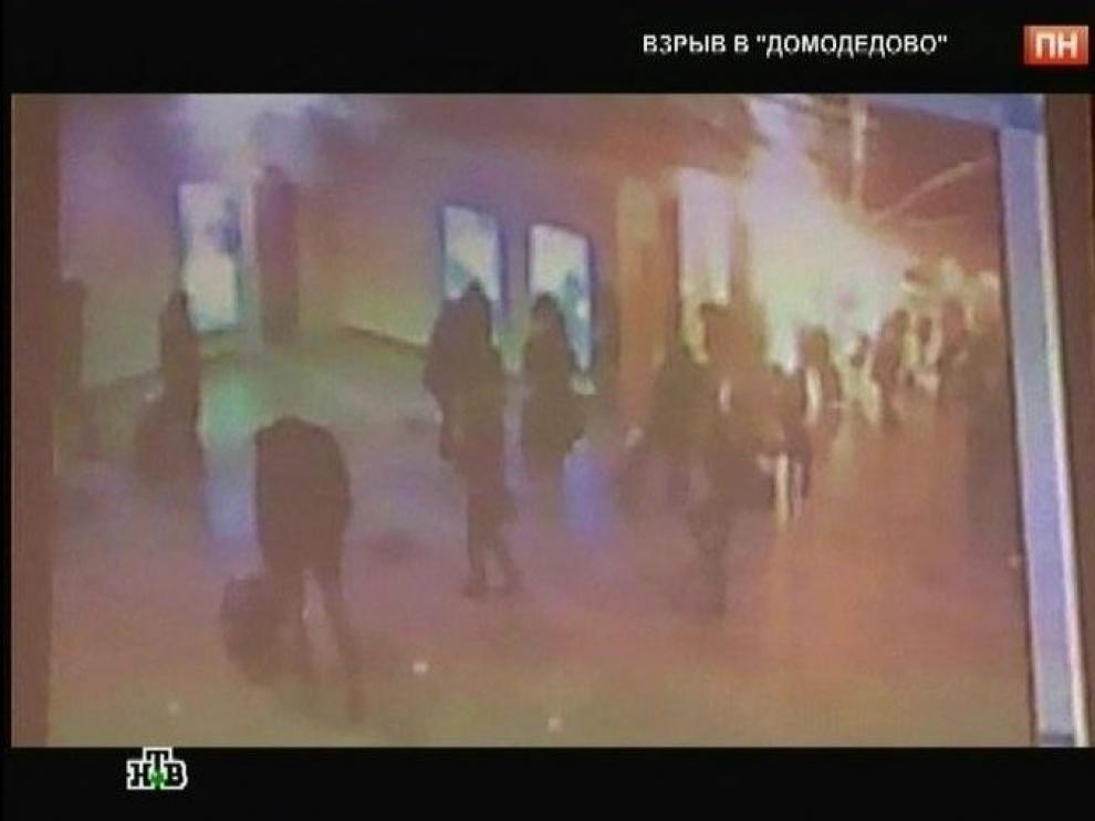 Imagen obtenida del canal de televisión ruso NTV que muestra el momento de la explosión