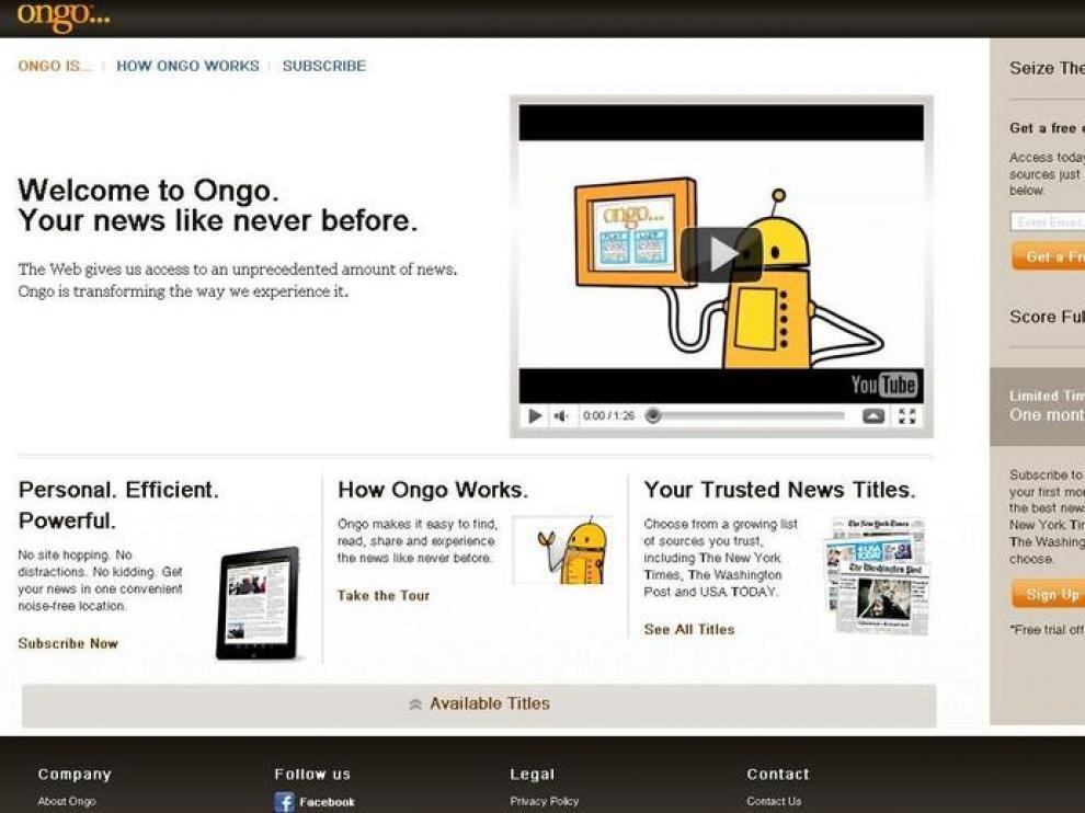 La apertura de Ongo, con un mensaje y un video de bienvenida
