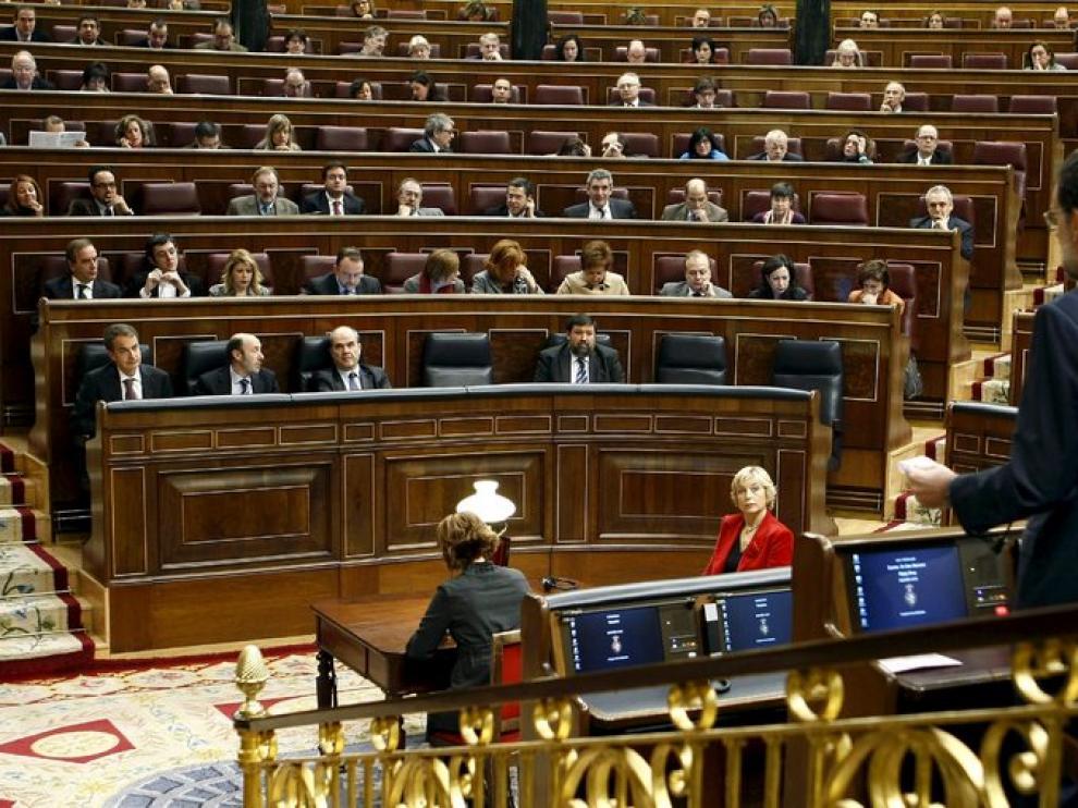 Rajoy, esta mañana en el Congreso, al dirigirse al Gobierno