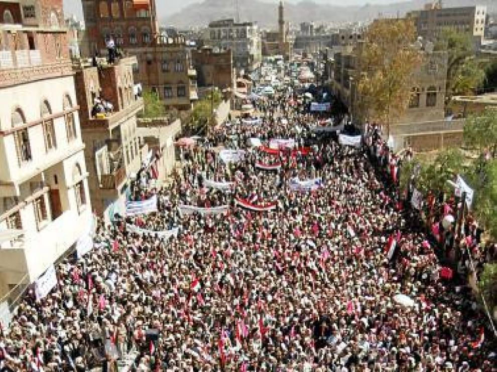 Manifestación en el centro de Saná, ayer.