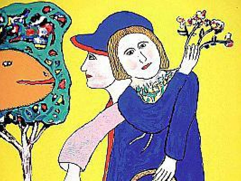 Serigrafía titulada 'Pareja con cesta' (1975-1980).