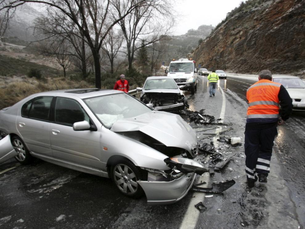 Imagen de un accidente que ha tenido lugar esta tarde en Monrepós
