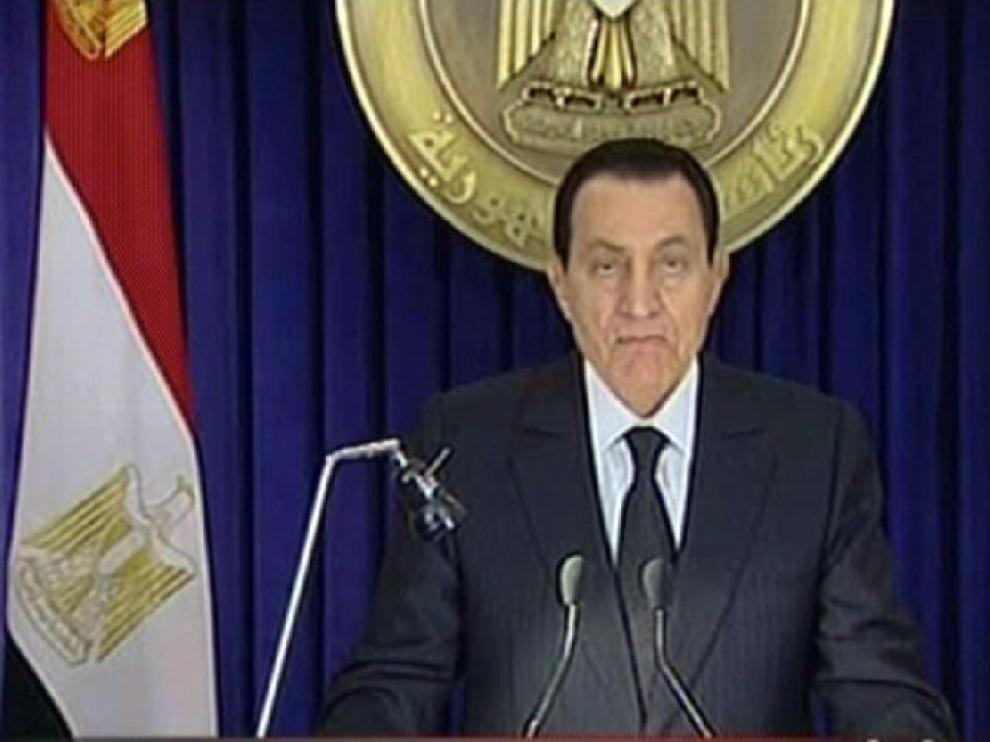 Hosni Mubarak durante su discurso