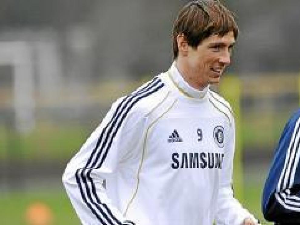 Fernando Torres durante su primera sesión de entrenamiento con el Chelsea