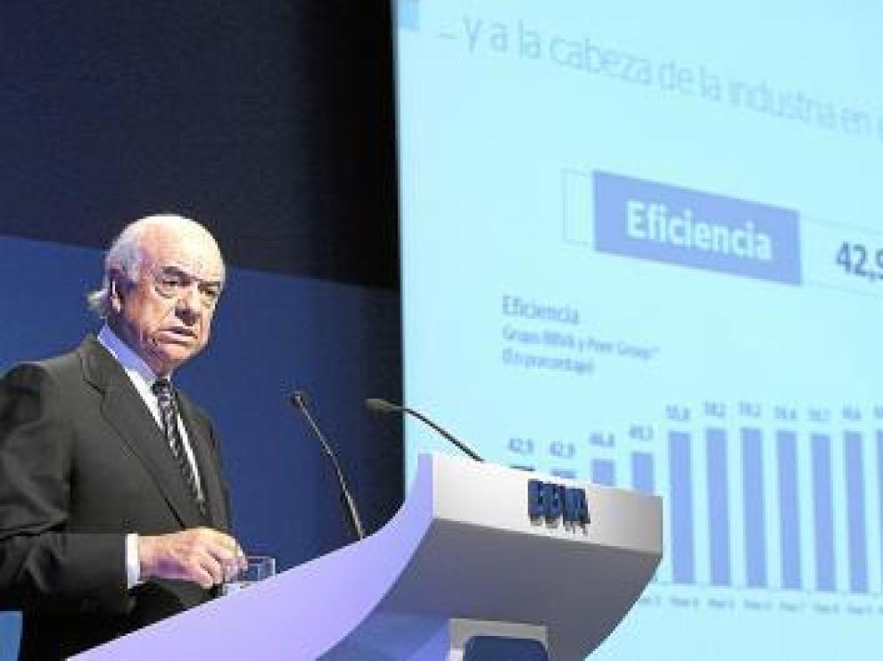 Francisco González, presentando los resultados del BBVA.
