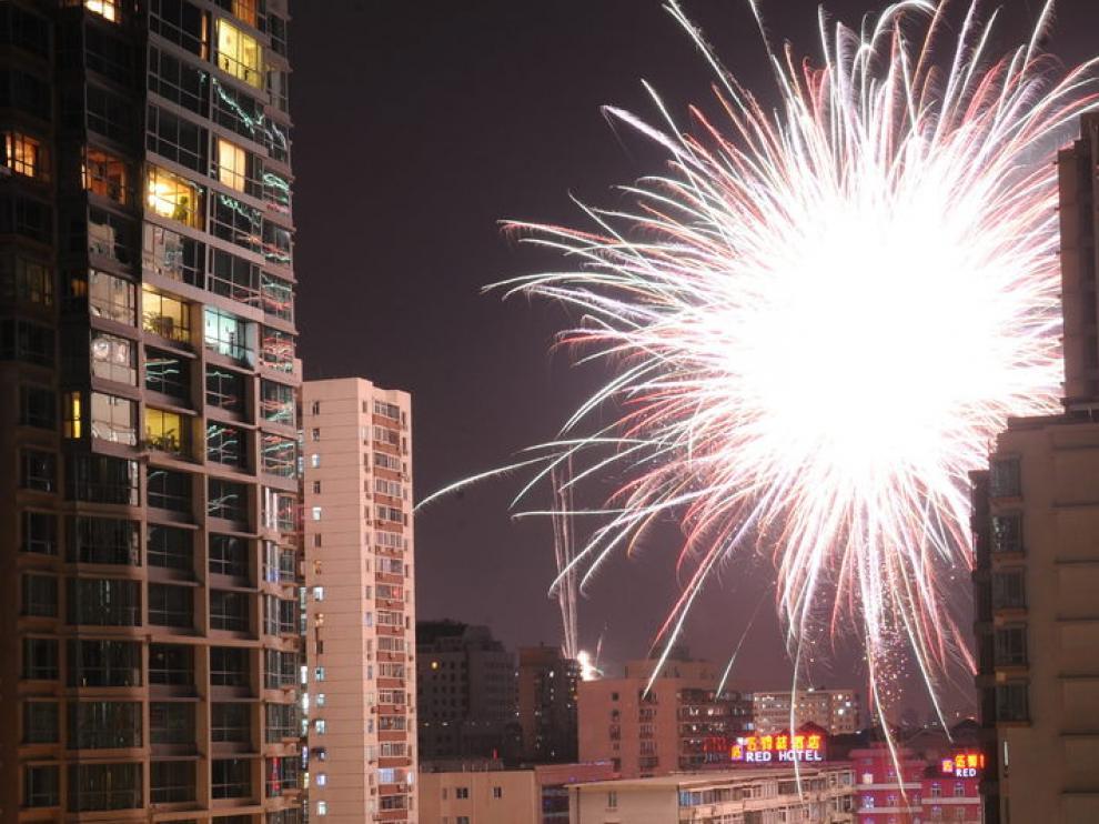 Fuegos artificiales en Pekín