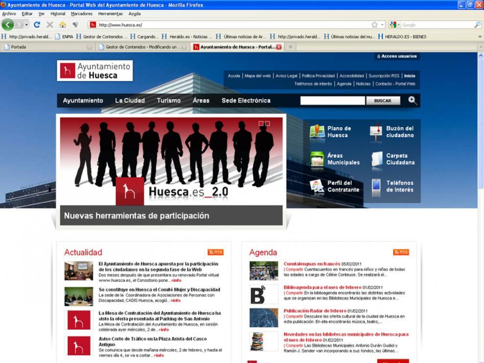 Imagen del nuevo diseño de la página