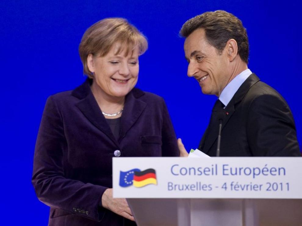 Merkel y Sarkozy, en la rueda de prensa tras la cumbre