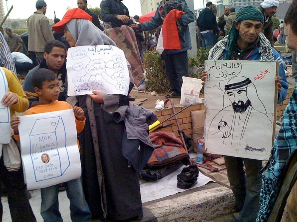 Pancartas humorísticas contra Mubarak