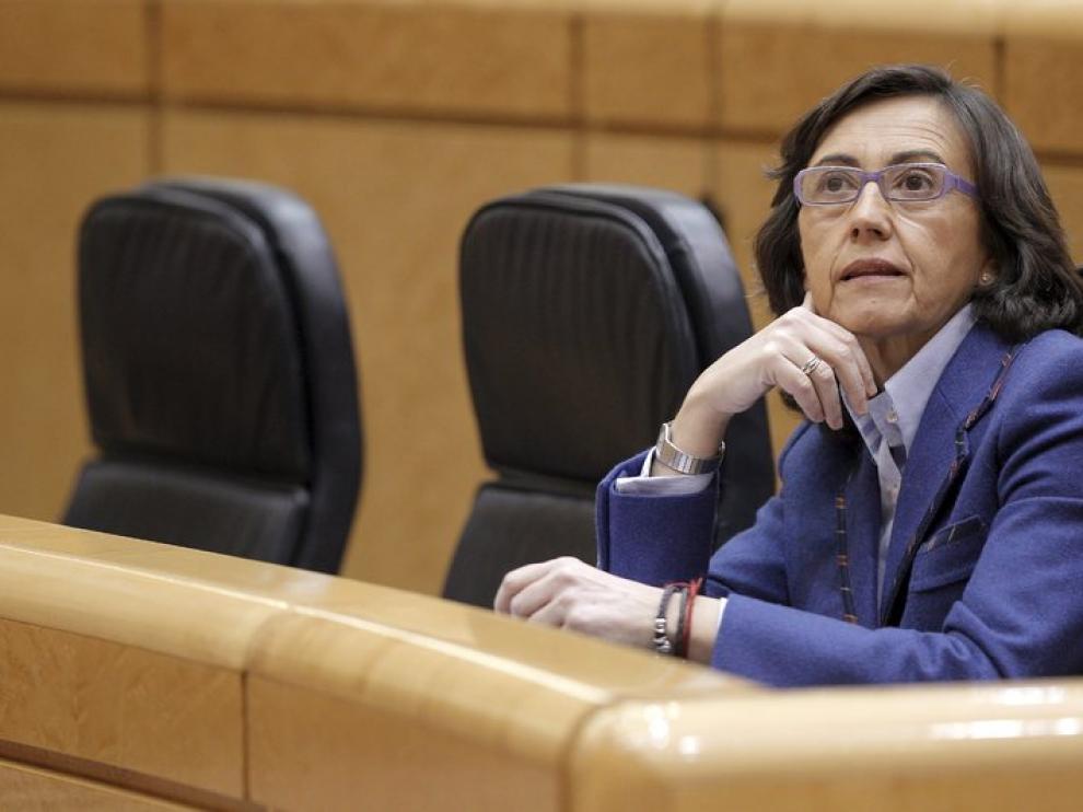Rosa Aguilar durante la sesión de control en el Senado.