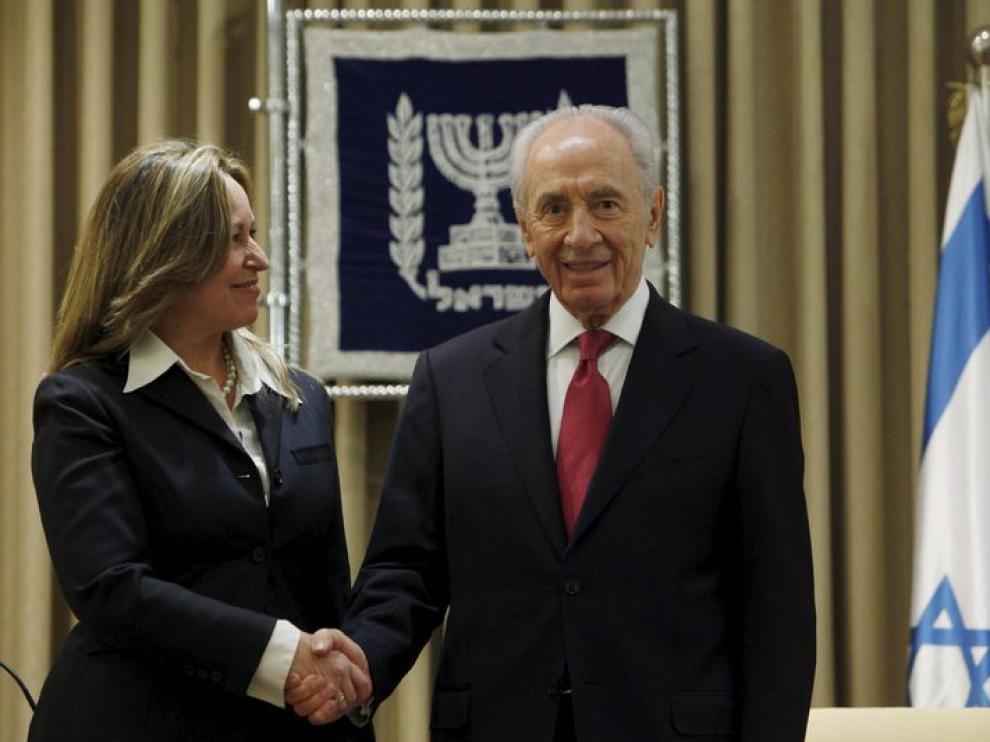 Jiménez junto al presidente de Israel, Simon Peres