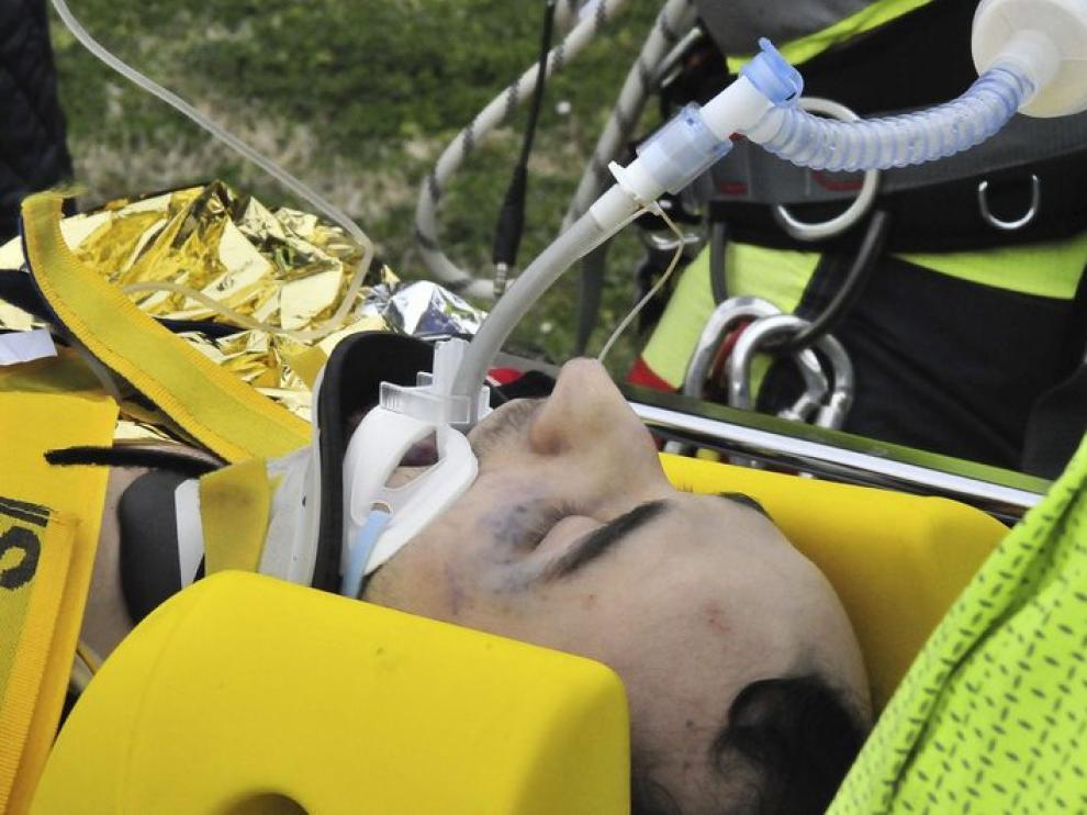 Robert Kubica en la camilla, el día del accidente