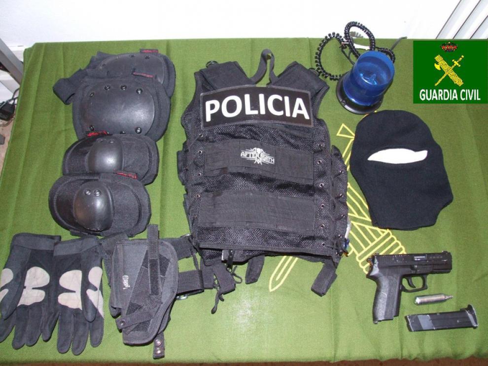 Material incautado al detenido