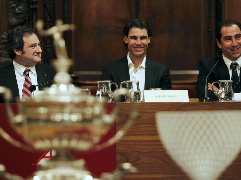 Nadal y Albert Costa durante la presentación del Torneo Conde de Godó