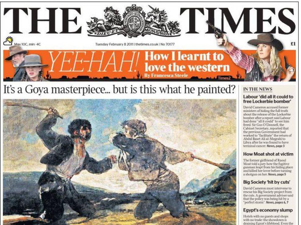 Portada de hoy en 'The Times'