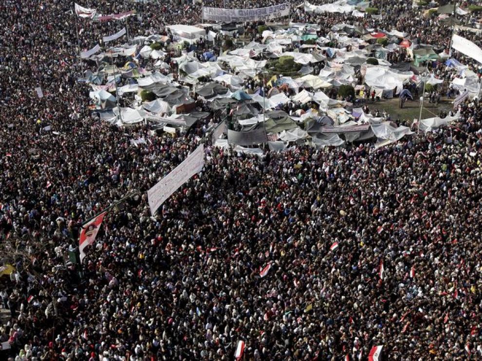 Vista aérea de la plaza Tahrir