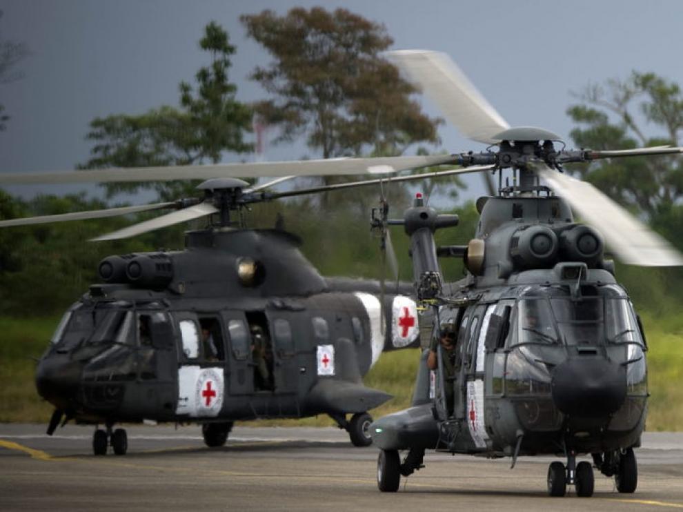 Dos de los helicópteros que participaron en la operación