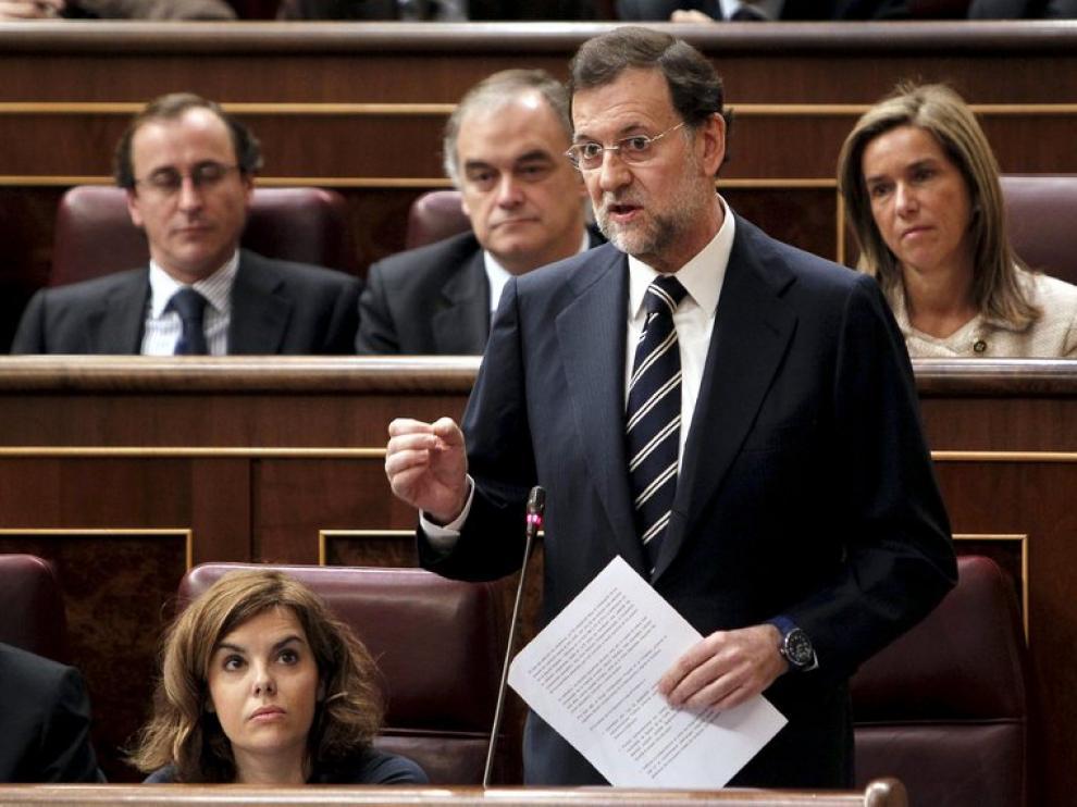 Mariano Rajoy, esta mañana en el Congreso