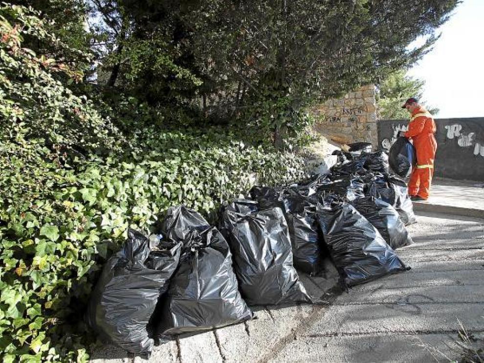 Decenas de sacos con basura procedente del botellón, amontonados en la ladera bajo el viaducto.