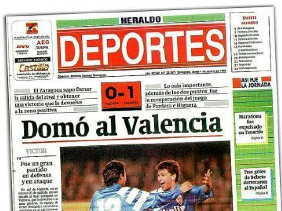 Portada de la sección de deportes de aquel día. En la imagen, Seba (de espaldas) e Higuera celebran el gol de la victoria