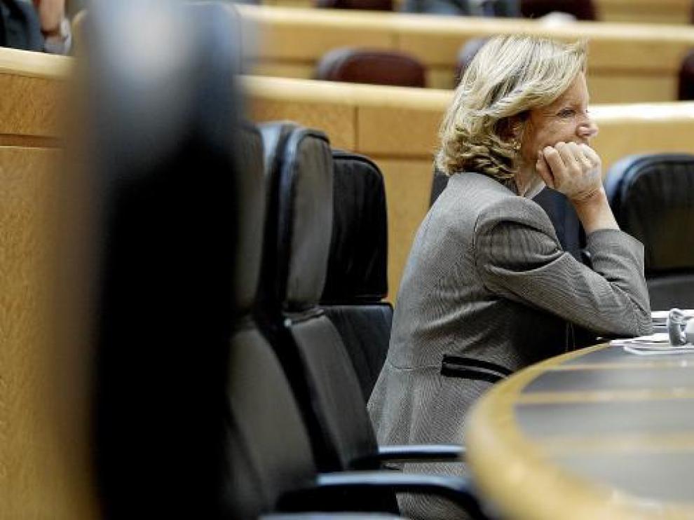 La ministra de Economía, Elena Salgado, durante la última sesión de control al Gobierno.