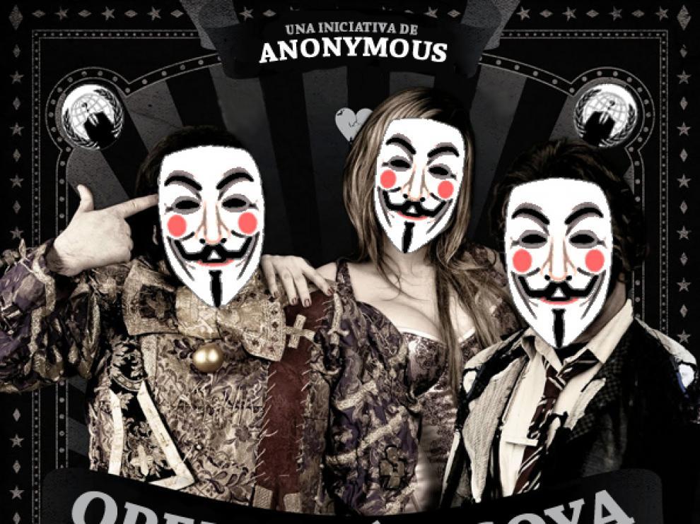 Cartle de Anonymus para convocar la protesta mañana, en los premios Goya