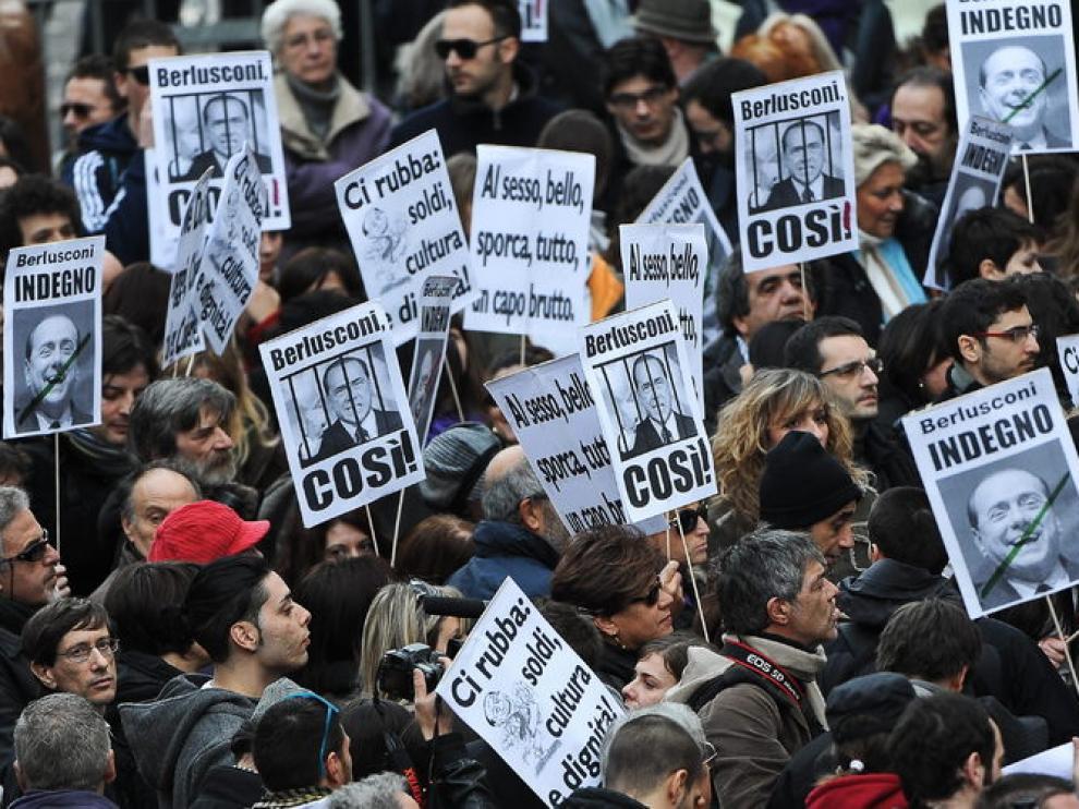 Protesta contra Berlusconi